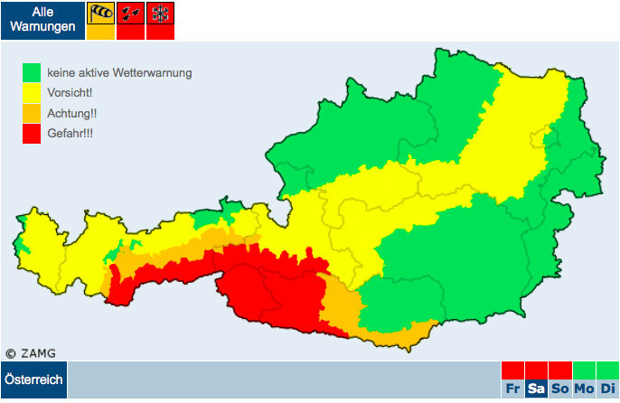 """Die Warnstufe wurde für den Süden Salzburgs von """"Orange"""" auf """"Rot"""" erhöht. Sie gilt ab Freitagabend für das ganze Wochenende."""