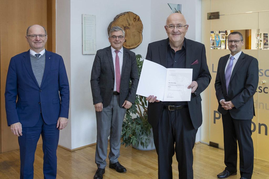 Bildungsdirektor Rudolf Mair, LR Josef Schwaiger, HR Thomas König und Karl Premißl