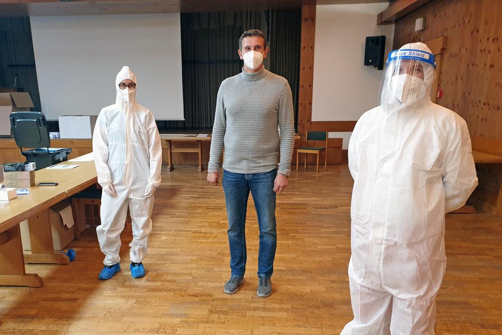 Der Schwarzacher Bürgermeister Andreas Haitzer mit Susanne Holzmann und Christian Hinterlechner.