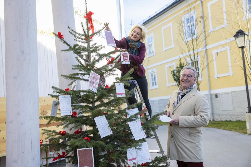 Elisabeth Radauer vom Salzburger Volksliedwerk und LH-Stv. Heinrich Schellhorn pflücken Adventlieder vom Weihnachtsbaum.