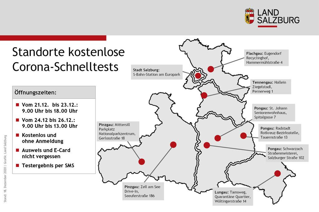 An diesen neun Standorten im Land Salzburg werden die kostenlosen Schnelltests angeboten.