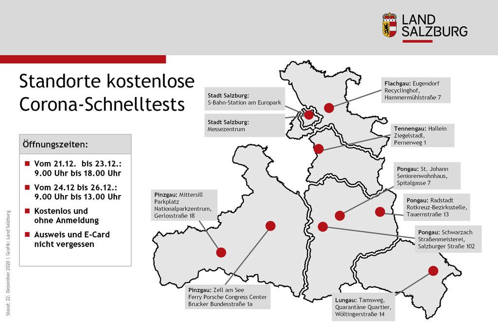 Die Testkapazitäten wurden wegen des unerwartet großen Andrangs erneut aufgestockt, die Standorte Eugendorf und Zell am See verlegt.