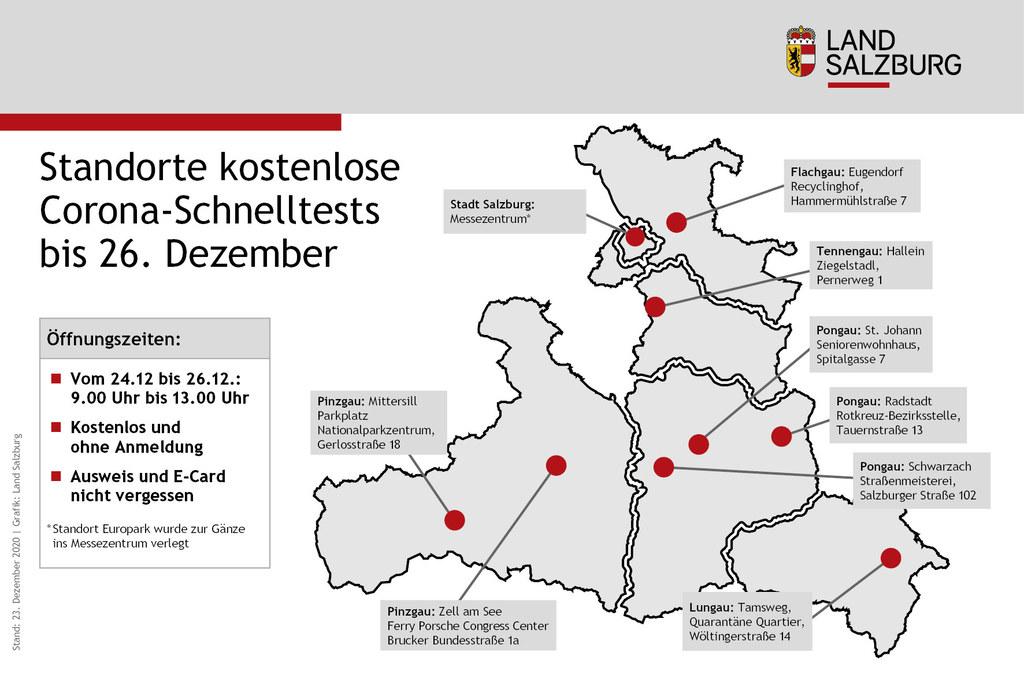 Diese Grafik zeigt die Möglichkeiten für die Gratis-Schnelltests bis einschließlich 26. Dezember 2020. Achtung! Der Standort beim Europark ist am 24. Dezember von 9 bis 13 Uhr aktiv, ab 25. Dezember gibt es eine zenrale Teststelle für die Stadt Salzburg im Messezentrum.