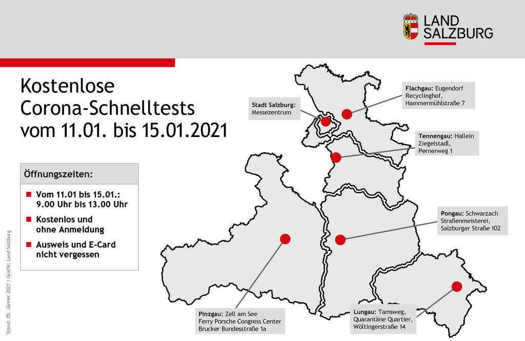 Die kostenlosen Testmöglichkeiten von 11. bis 15. Jänner in allen Bezirken auf einen Blick.