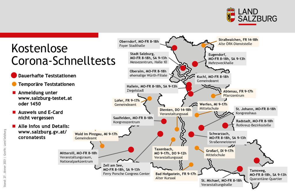 Das sind die kostenlosen Testmöglichkeiten in Salzburg auf einen Blick. Die Temporären gehen mit 1. Februar in Betrieb.
