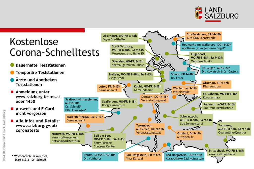 29 Teststationen stehen ab 8. Februar in allen Regionen Salzburgs zur Verfügung. Für die sechs neuen Standorte bei Apotheken und Ärzten kann man sich ab 6. Februar anmelden.