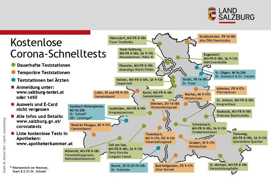 Ab Mittwoch, 10. Februar, gilt für Grenzpendler neben der Registrierungspflicht auch eine Testpflicht auf Covid-19. In der Grafik sind alle Testmöglichkeiten des Landes gemeinsam mit dem Roten Kreuz ersichtlich. In Lofer, dem Messezentrum Salzburg, Oberalm und Hallein wurde das Angebot speziell für Pendler erweitert.