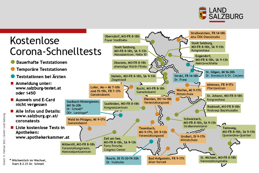 28 Teststationen stehen ab 15. Februar in allen Regionen Salzburgs zur Verfügung, neu dabei ist das Kongresszentrum in der Stadt Salzburg. In Lofer wurde das Angebot für Pendler zudem nochmals erweitert.