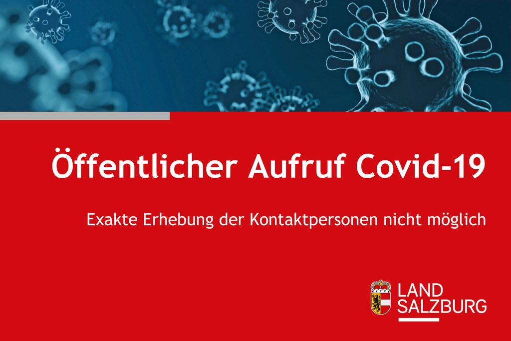 Die Gesundheitsbehörde der Bezirkshauptmannschaft Zell am See ruft Personen, die am Samstag, 1. Mai, mit dem Zug BRB79009 von München Hauptbahnhof (Abfahrt 7.55 Uhr) nach Salzburg Hauptbahnhof (Ankunft 9.42 Uhr) gefahren sind, auf, ihren Gesundheitszustand zu beobachten.