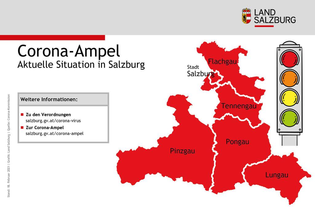 """Die Corona-Ampel steht für alle Salzburger Bezirke weiterhin auf """"Rot""""."""