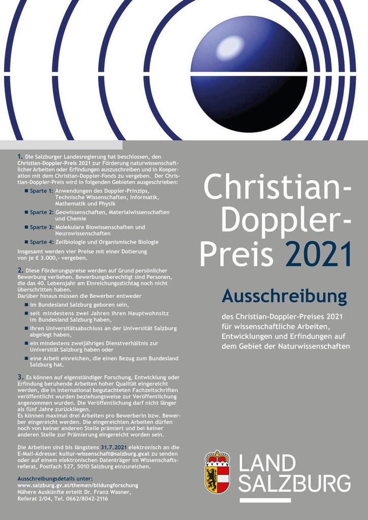 Die Ausschreibung für den Christian-Doppler-Preis 2021 läuft bis 31. Juli.
