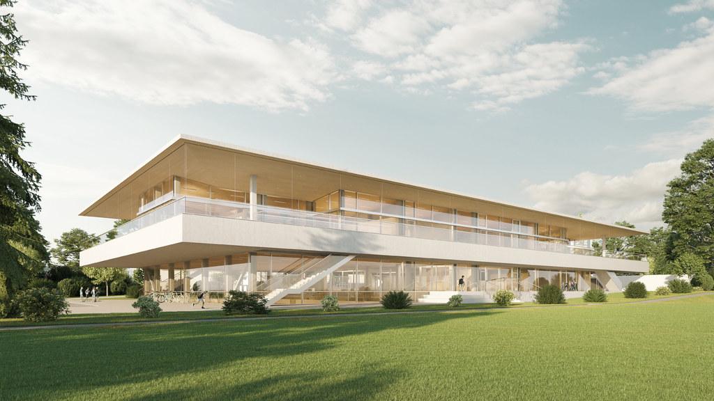Das neue, moderne Schulgebäude soll im September 2022 bezugsfertig sein und bietet Kapazitäten für neun Klassen beziehungsweise 225 Kinder.