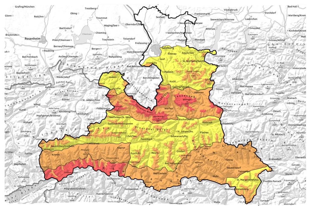Die aktuelle Lawinensituation in Salzburg im Überblick. In den roten Bereichen gilt Lawinenwarnstufe 4, große Gefahr.