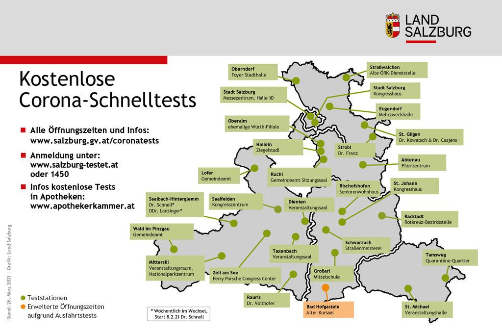 Die kostenlosen Testmöglichkeiten auf das Corona-Virus in Salzburg im Überblick.