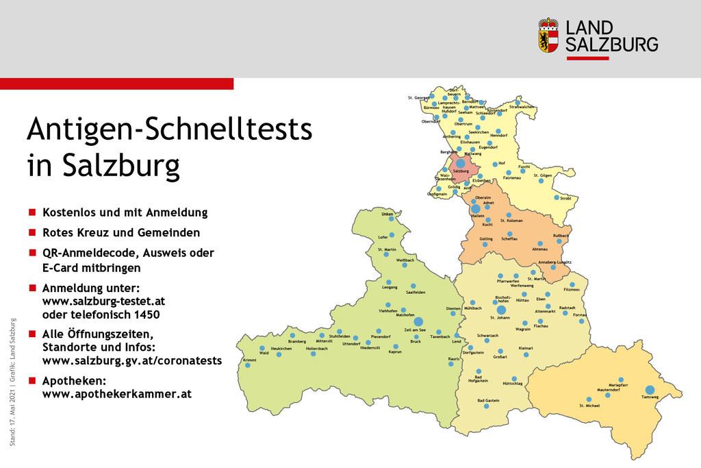 """Neben den 24 Stunden gültigen """"Wohnzimmertests"""" bieten Salzburgs Gemeinden sowie das Rote Kreuz 48 Stunden gültige Corona-Antigentests kostenlos und in der Nähe an. Alle Öffnungszeiten und Standorte: www.salzburg.gv.at/coronatests."""