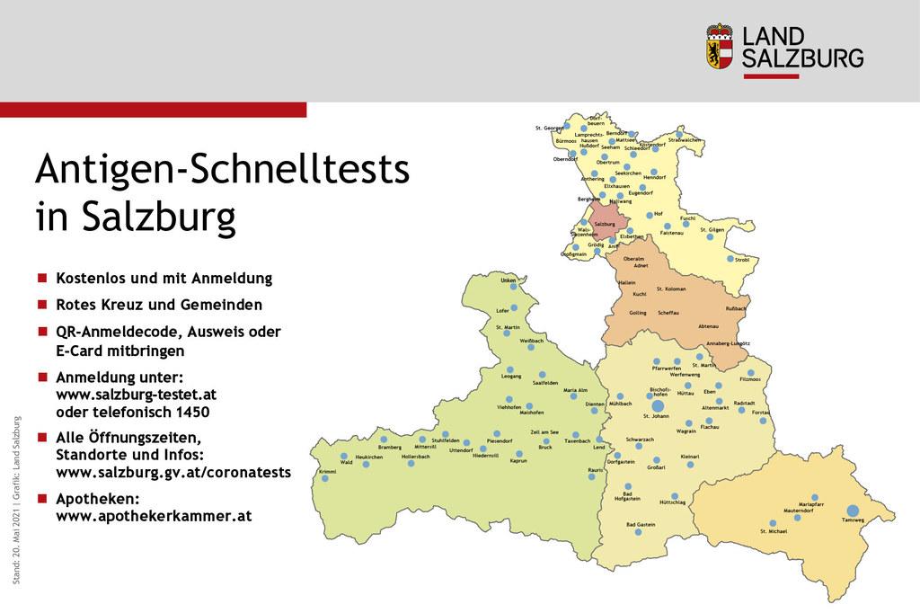 Kostenlos und in der Nähe - Salzburgs Gemeinden sowie das Rote Kreuz bieten Corona-Antigentests an. Öffnungszeiten und Standorte: www.salzburg.gv.at/coronatests.