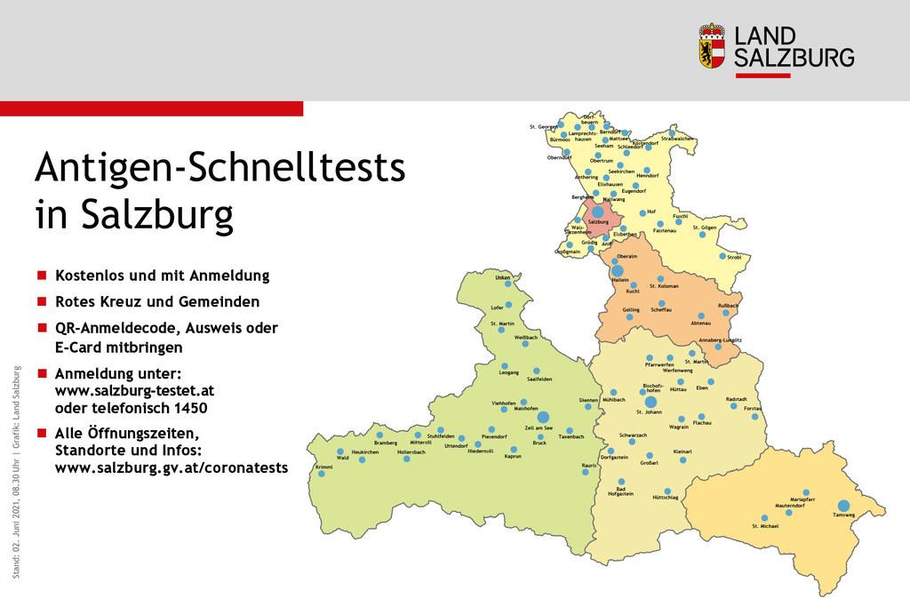 Die kostenlosen und zahlreichen Teststationen des Roten Kreuzes und der Gemeinden stehen auch am verlängerten Wochenende zur Verfügung. Alle Öffnungszeiten: www.salzburg.gv.at/coronatests.