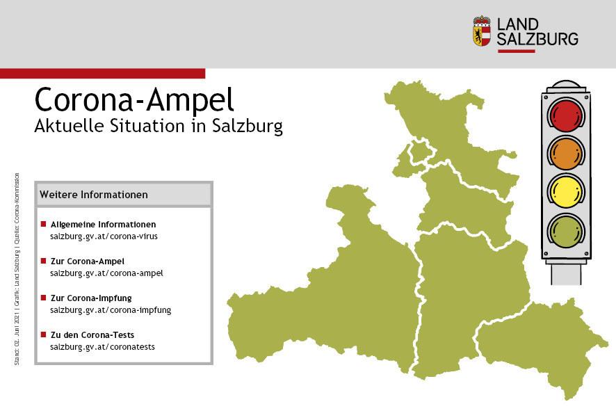 Erstmals die Farbe Gelbgrün für Salzburg auf der Corona-Ampelkarte.