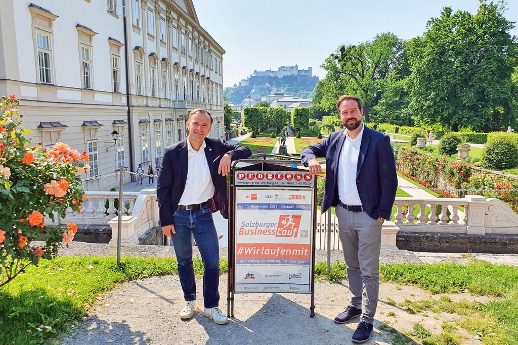 LR Stefan Schnöll und Vize-Bgm. Bernhard Auinger rufen auch heuer zur Teilnahme am Salzburger Businesslauf auf. Anmeldestart ist am 14. Juni.