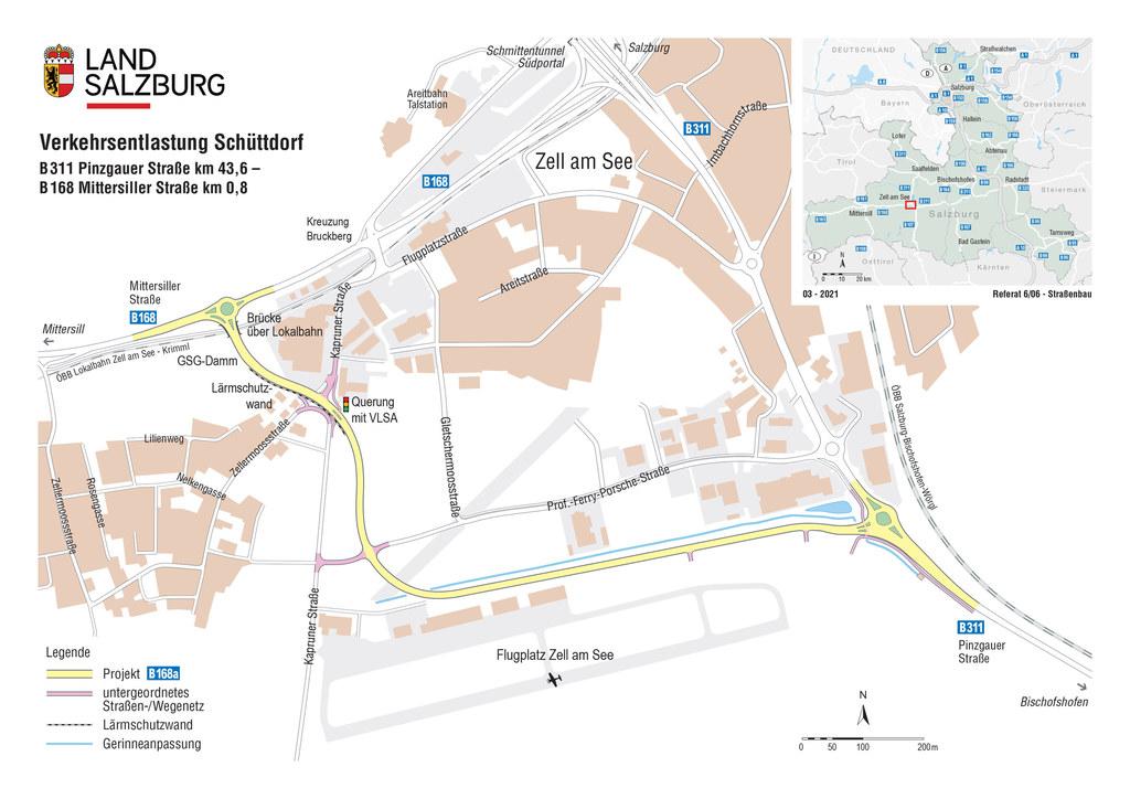Visualisierungen fuer die Umfahrung Zell am See zur Verkehrsentlastung Schuettdorf