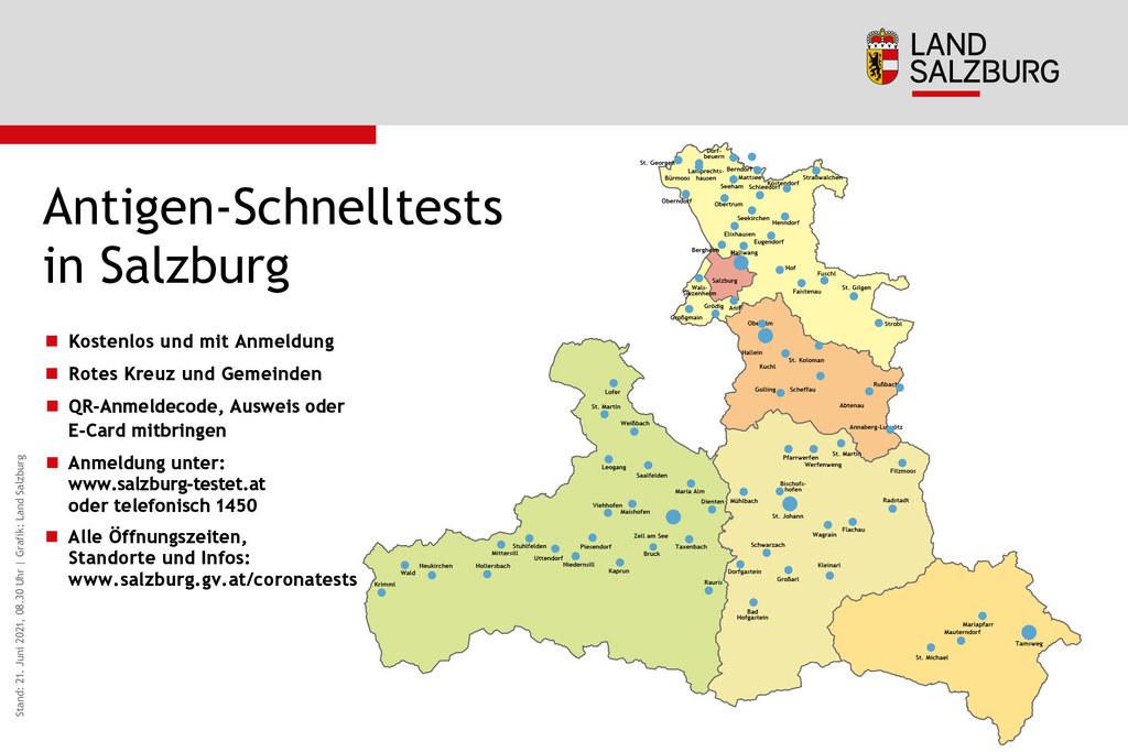 Corona-Teststandorte in Salzburg Stand 21.6.2021