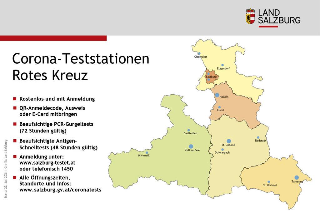 Corona-Teststandorte in Salzburg Stand 22.7.2021