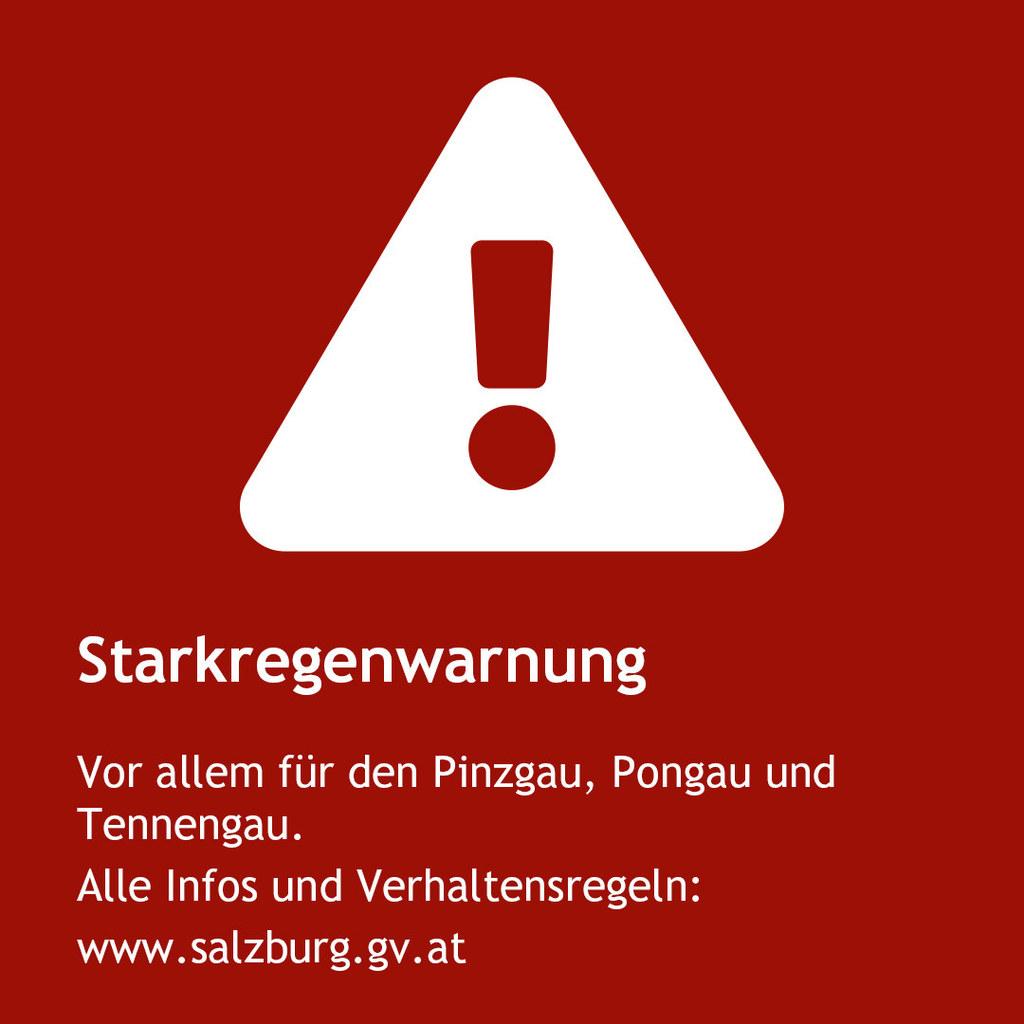 Von Mittwochabend bis Donnerstagvormittag sind in Teilen Salzburgs starke Regenfälle vorhergesagt.