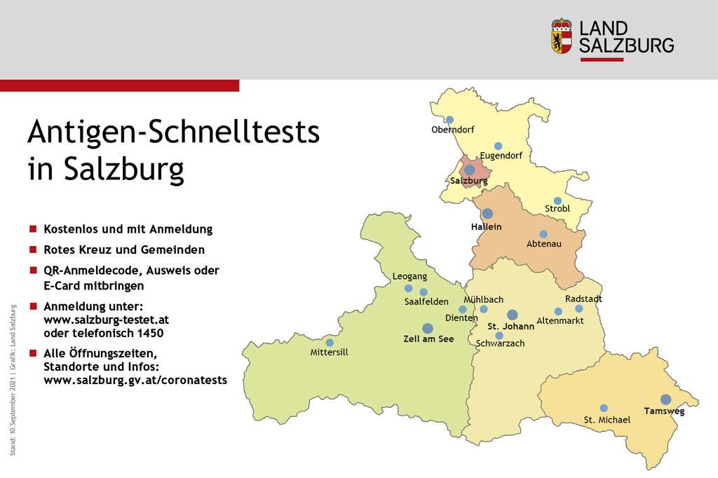 Corona-Teststandorte in Salzburg Stand 10.9.2021