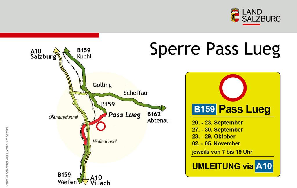 Sperre B159 Salzachtal Straße Pass Lueg